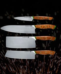 Set of sharp knives laying on a surface
